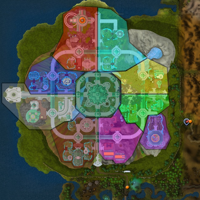 A map of Prifddinas highlighting the Tower of Voices, the Max Guild and the clan areas