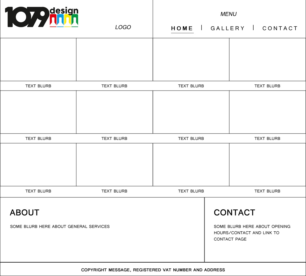 1079design gallery page wireframe