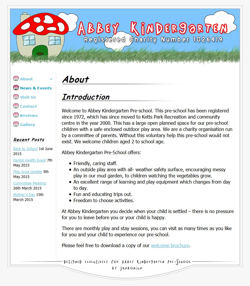 screenshot showing the abbey kindergarten website
