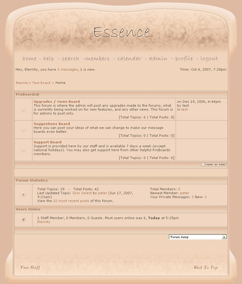 screenshot showing the essence website