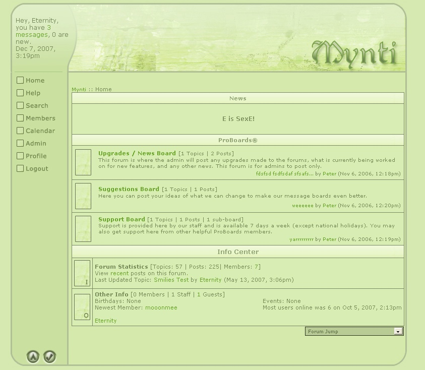 screenshot of the mynti website