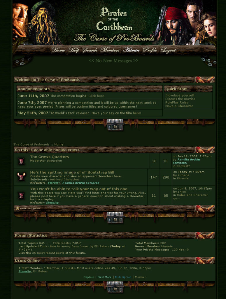 screenshot of the second version of the curse of proboards website