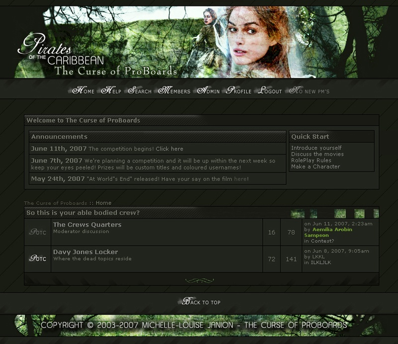 screenshot of the fourth version of the curse of proboards website