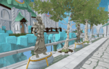 view of the white brick road into prifddinas