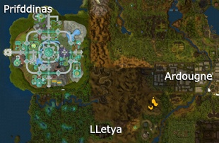 A map showing the location of Prifddinas