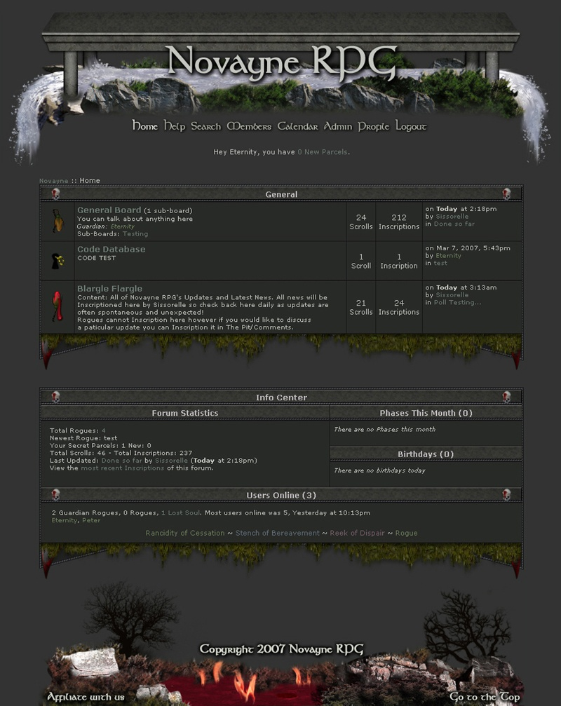 screenshot of the novayne rpg website