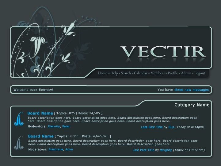 screenshot of the vectir website