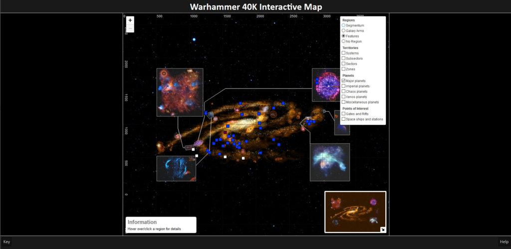 screenshot of an interactive map set in the warhammer 40,000 universe