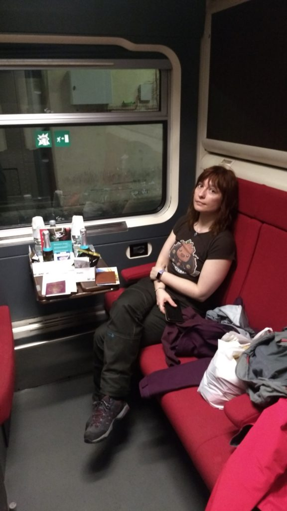 sitting in the overnight train to venice