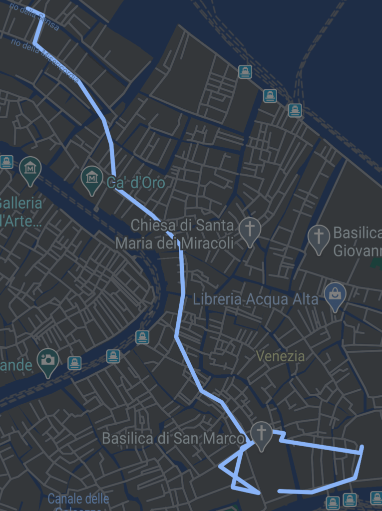 route map of a walk to piazza san marco