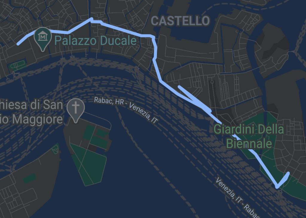 route map of a walk towards the parco delle rimembranze