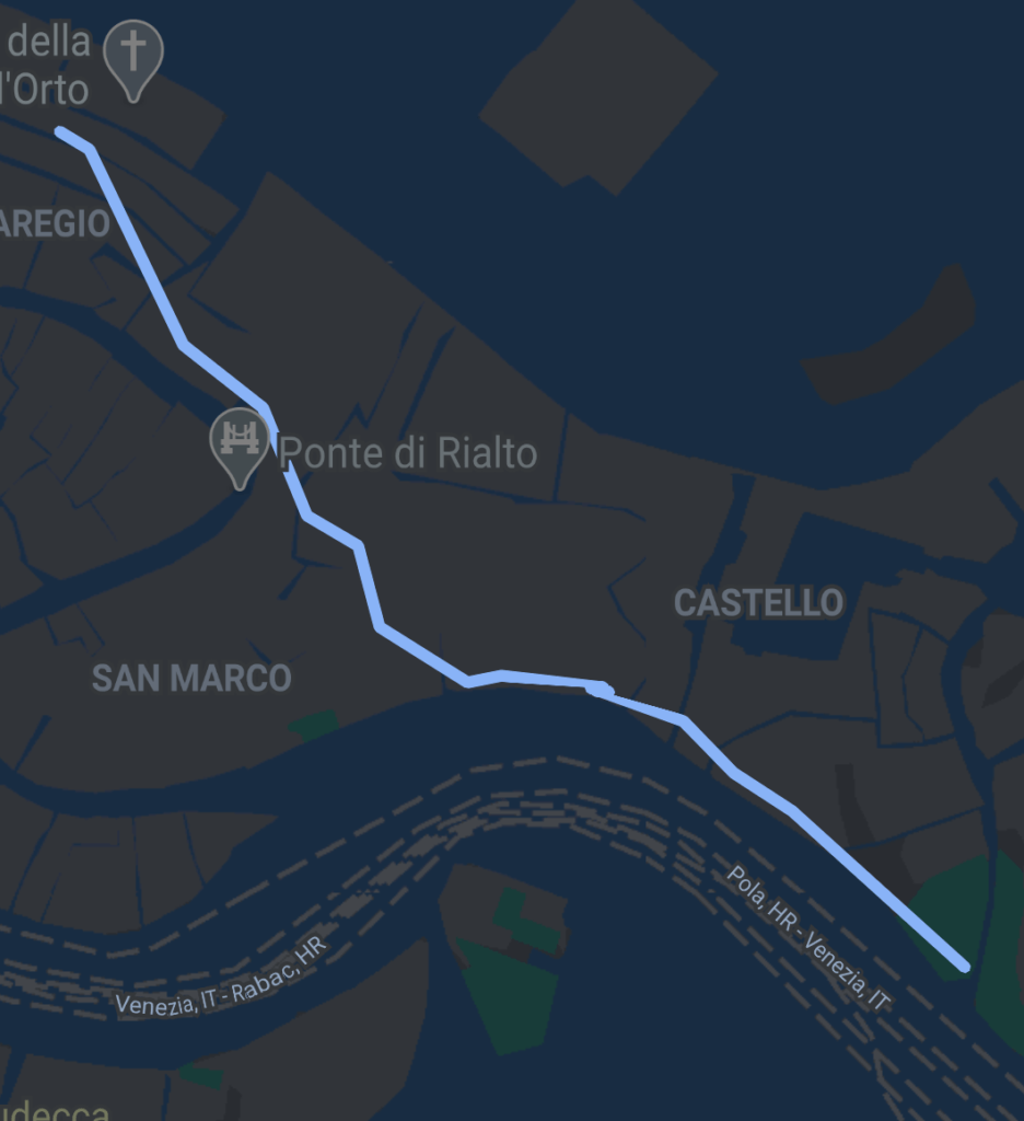 route map of a walk back from the parco delle rimembranze