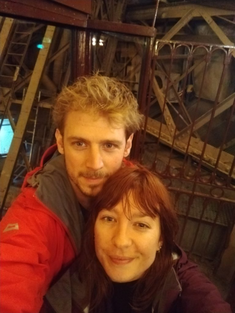 tom and michelle inside the tour eiffel