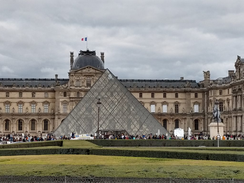 the view of the top of the louvre pyramid