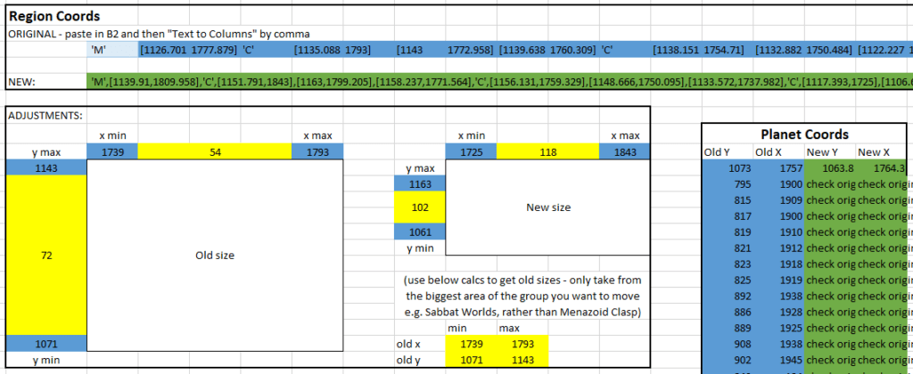 screenshot showing a preview of the leaflet region and marker mover spreadsheet