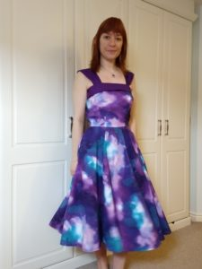 full front view of michelle modelling the galaxy dress