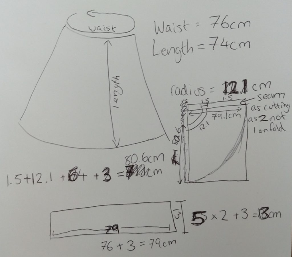 notes on the construction of a circle skirt including measurements in centimeters