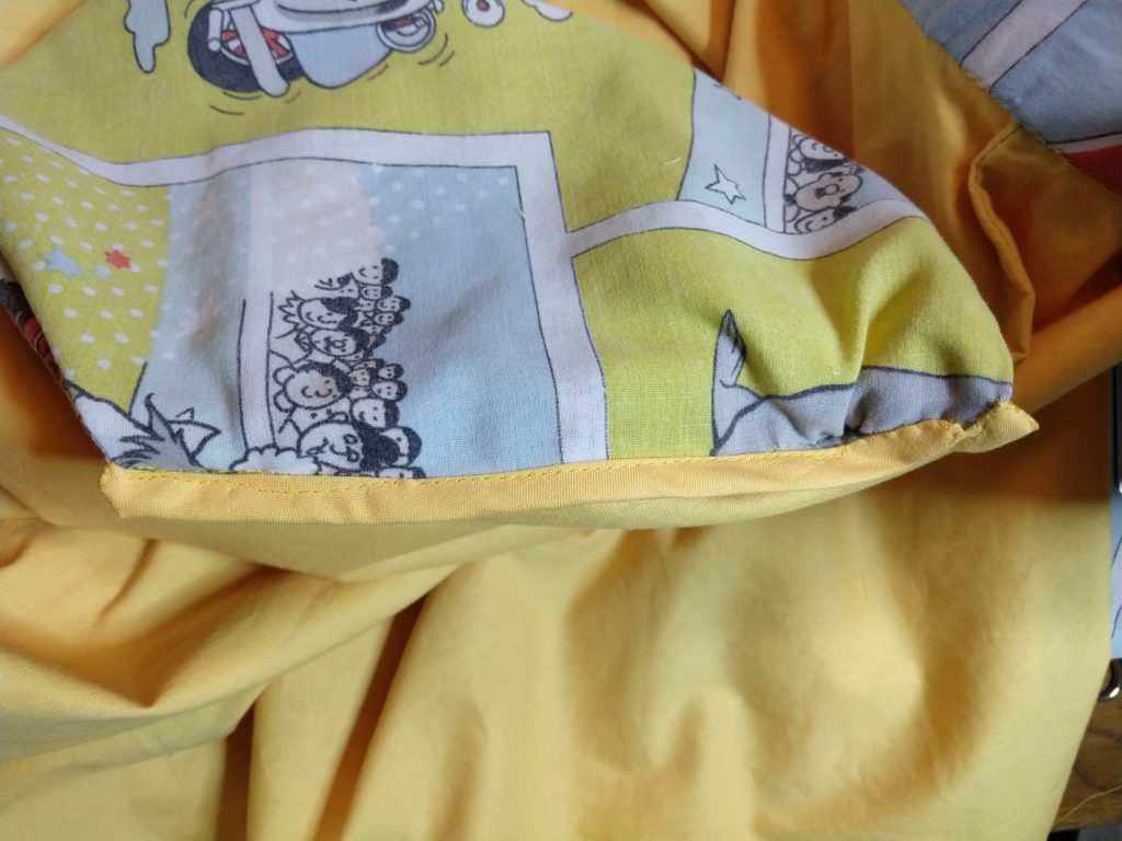 the inside of the tom & jerry skirt showing a bound pocket
