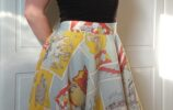 full front view of michelle modelling the tom & jerry skirt