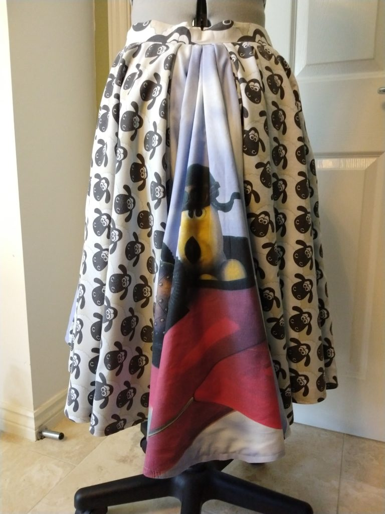 the wallace & gromit skirt from the back on a dress form