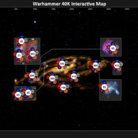 screenshot of an interactive map set in the warhammer 40,000 universe that shows planets and locations during the horus heresy