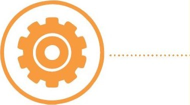 an orange icon of a cog within an outlined circle with a dotted line emerging on the right hand side on a white background