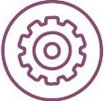 a purple icon of an outlined cog within an outlined circle with a dotted line emerging on the right hand side on a white background