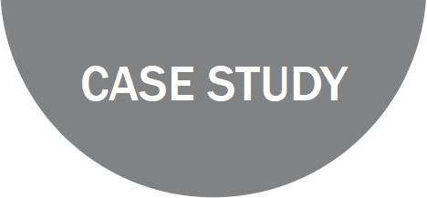 the word case study on a grey semi-circle