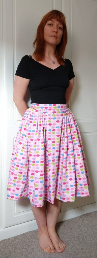 front view of michelle modelling the pig skirt