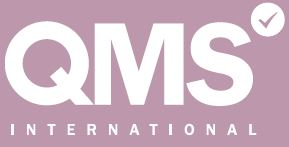 a white qms international logo on a purple background