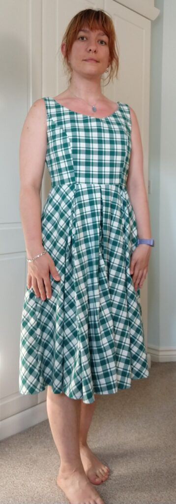 front view of michelle modelling the chequered dress