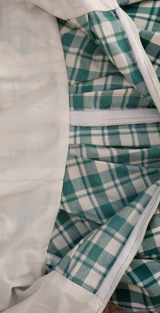 the inside of the chequered dress showing the bodice lining