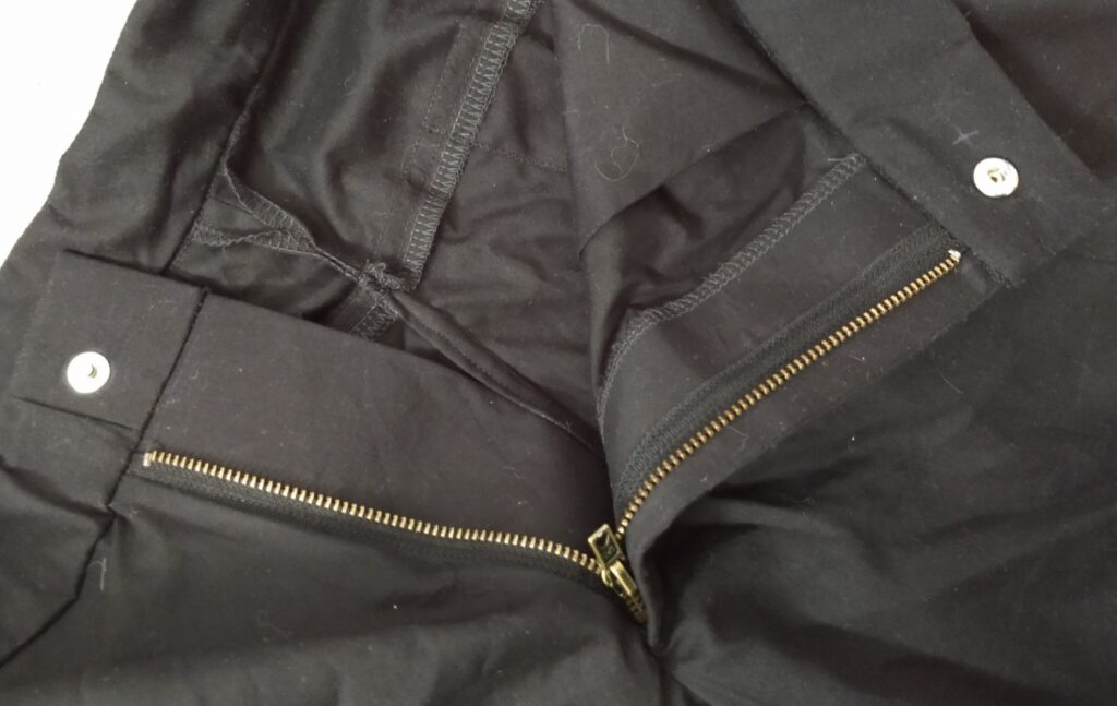 the inside of the climbing shorts showing the fly