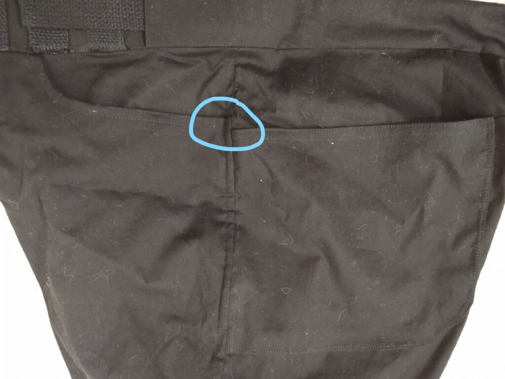 the front and rear pockets on the left leg of of the climbing shorts