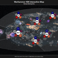 screenshot of an interactive map set in the warhammer 40,000 universe that shows a timeline of events during and leading to the horus heresy