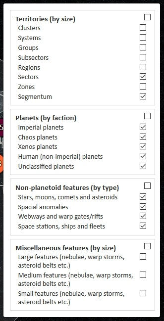 screenshot of the expanded settings control on the horus heresy interactive map project
