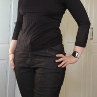 front view of michelle modelling the safran trousers